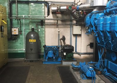 Pic showing generator plant in place amongst other machinery viewed from the left