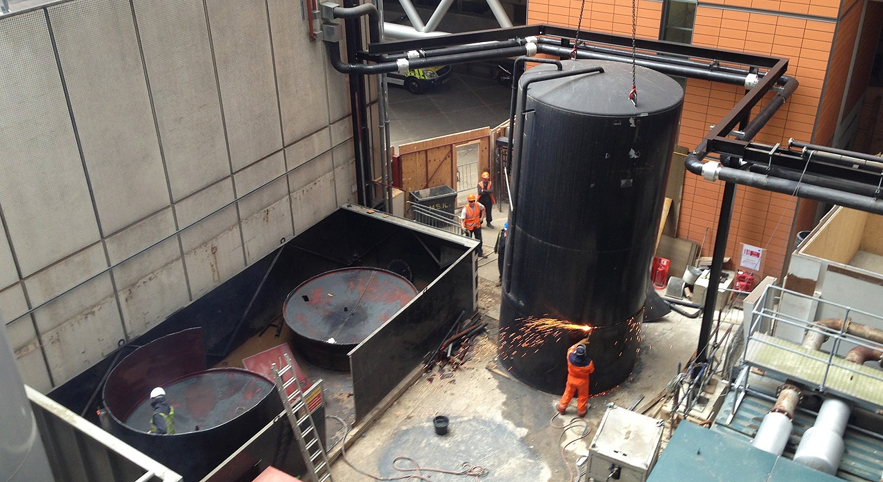 Pic showing the 1st Industrial team undertaking the existing tank removal