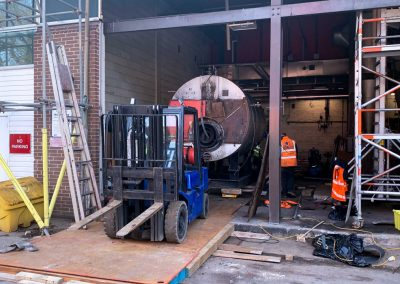 Pic showing one of the boilers mid move during the removal process at Broomfield Hospital