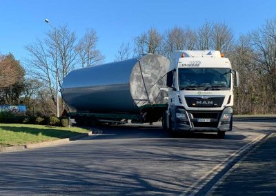 Pic showing the new tank arriving at Conquest Hospital on the lorry
