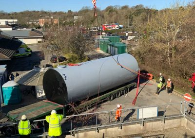Pic showing the new industrial tank at Cnquest Hospital being lifted into position