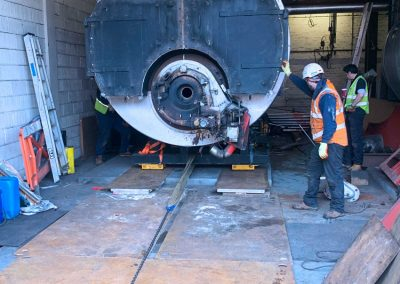 Pic showing one of the boilers being removed from the Broomfield Hospital site